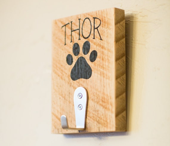 Personalized Wood Wall Decor : Personalized dog leash reclaimed wood wall decor gift for