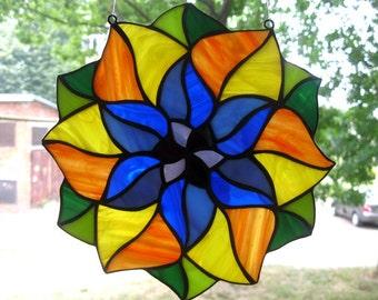 Stained glass mandala Suncatcher Hanging window panel Tiffany style Round Glass Medallion Rainbow