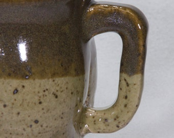 Capacious Loden Green Two-Tone Stoneware Ceramic Mug with Slightly Squared Form and Handle