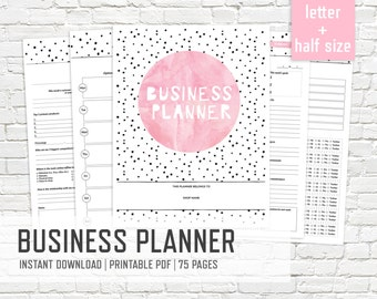 Business Planner Letter and Half Size - Printable Small Business Organizer Pink Work Planner Kit Work Editable Binder - INSTANT DOWNLOAD