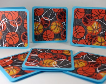 Mini Cards 3 x 3inch Ideal For Thank You Notes, Invitations, Greeting Cards or Small Note Cards,  Basketball Fans- Set of 6 With Envelopes