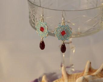 March Birthstone Earrings,Swarovski Crystal.Aquamarine Earrings ,Sterling Silver