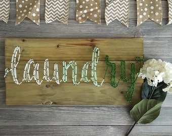 String Art - Customizable String Art - Custom String Art - Nail and String Art - Laundry Room Decor - Wash and Dry Decor - Home Decor