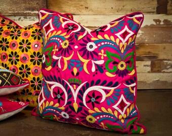 Fuchsia Tribal Embroidered Pillow, Vintage pillow, Tribal pillow, indian pillow, pink pillow, moroccan pillow