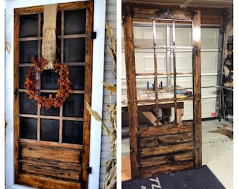 On Sale Beautiful Custom Rustic Screen Door With By