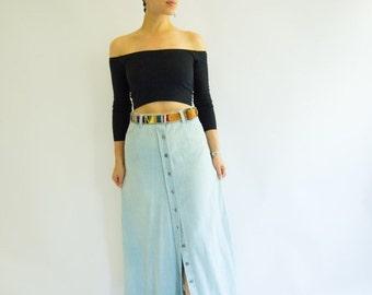 """Summer Sale Vintage 1970's """"Levi"""" Orange Label A-Line Maxi Skirt, Size-S"""