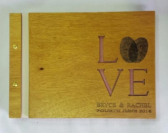 Personalised Custom Wedding Guest Book Engraved gift engagement