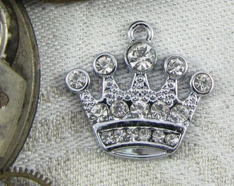 Set of (4) Silver Rhinestone Crown Charms, 4 per package SFF040