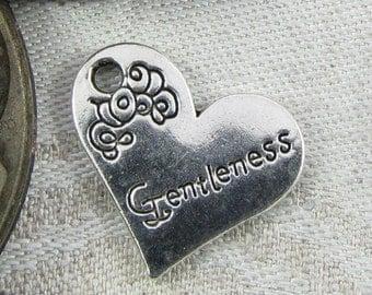 1 or 4, Gentleness Charm, Gentleness, Word Charm, Inspirational Words, Motivational Words, Gentleness Pendant, Silver Gentleness, CAU018F