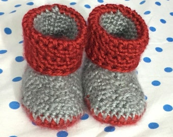 Crochet Baby Booties, Crochet, Handmade, Cuffed Booties, Soft Sole, Baby Shoes (0-3 months)