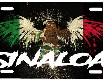 "Sinaloa  Mexico Aluminum License Plate Placa  6"" x 12"""