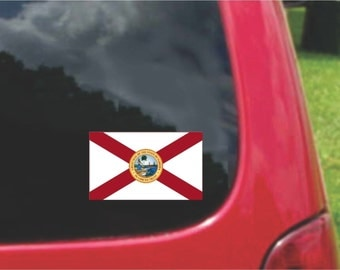 2 Pieces  Florida  State Flag Vinyl Decals Stickers Full Color/Weather Proof. U.S.A Free Shipping
