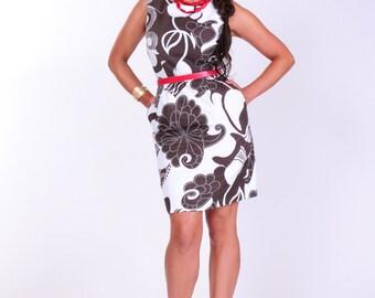 Brown and white denim dress