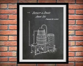 Patent 1808 Alcohol Still - Art Print Poster - Moonshine Still - Whiskey Still - Bar & Pub Art - Bourbon Invention