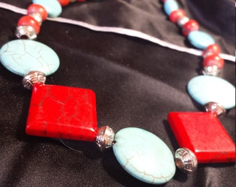 "Genuine turquoise & silver 23"" Necklace, Earring set"