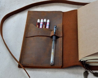 Personalized Leather Journal leather sketchbook diary (Free Initials)