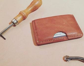 Handmade and stitched leather wallet