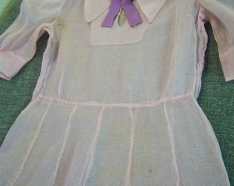 Vintage sheer dress/Light pink sheer dress with purple bow/Vintage dress to display/Size small/Victorian decor/Cottage chic/Shabby chic