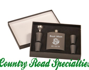 Personalized Engraved Flask Gift Set, Best Man with Three Initials And Date