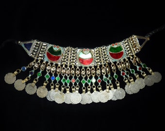 Old Kuchi Tribal-Choker from Afghanistan with Green and Red Glassjewels, Tribal-Necklace, Vintage
