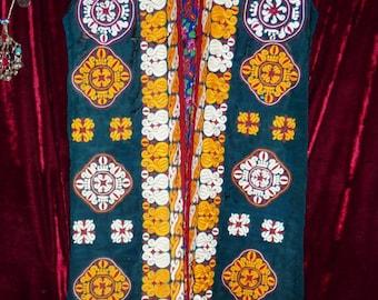 Turkmen Chirpy Coat, Silk, Embroidered, Vintage, Size M-L