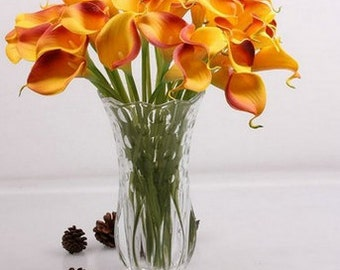 orange Calla Lily 10pcs PU leather Real Touch Flowers Bridal Bouquet Wedding Bouquet with real Scent no.1