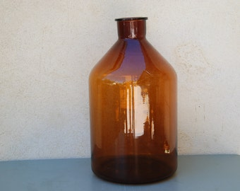 Very large antique amber glass jar, 10 litre,  French Perfume jar for storing essential oils and fragrance from Grasse.