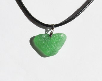 Green Sea glass necklace - genuine heart shaped sea glass jewelry seaglass heart necklace beach glass necklace beach jewelry gift (SGN-11)