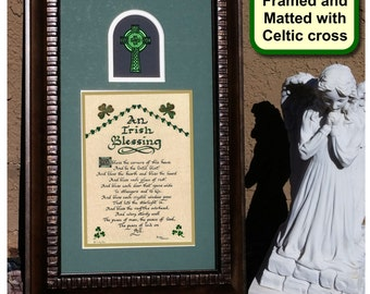 An Irish Blessing Wall Decor Picture for Home with Celtic Cross with option to personalize
