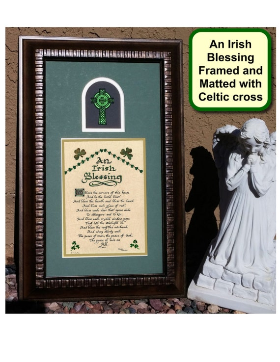 An irish blessing wall decor picture for home with shamrocks for Irish decorations for home