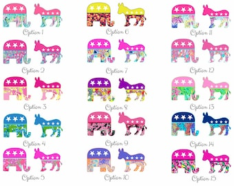 Republican or Democrat Lilly Inspired Stickers #2