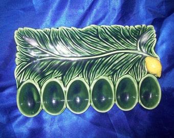 Green Deviled Egg Salad Serving Plate