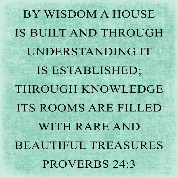 SVG, DXF & PNG - By Wisdom a house is built and through understanding it is established