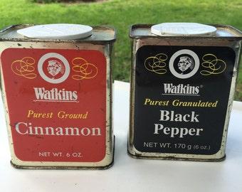 Vintage Watkins Cinnamon Pepper Tins