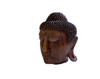 Budha Head, Hand Carved Wood Sculpture