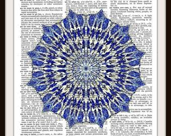 Blue Mandala-- Vintage Dictionary Art Print --fits 8x10 mat or frame