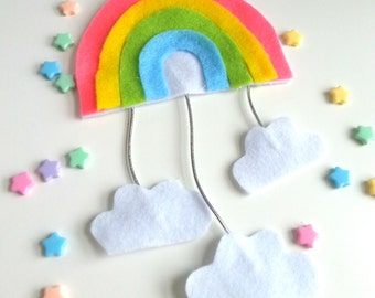 Kawaii Felt Rainbow Mobile