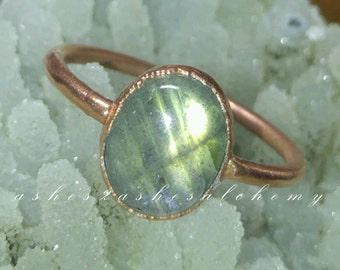 SALE!!- was 50usd- Labradorite copper ring