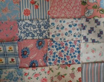 Vintage Genuine Feed Sack Patches in Pinks & Blues ~Craft~Patchwork Bundle