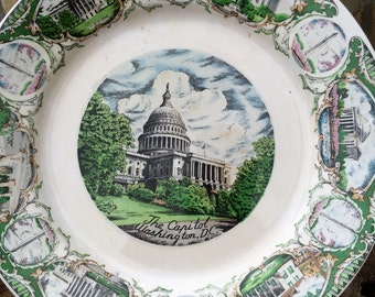 vintage 60's Souvenir Plate Washington DC 10 inch Ceramic very mod