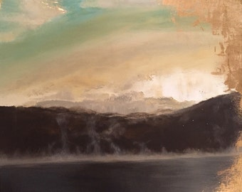 """SOLD OUT Foggy Lake Sunrise / Sunset Painting with Gold Leaf - """"Holl-leaf"""" in 24"""" x 24"""" by ErinEliseLaughs"""