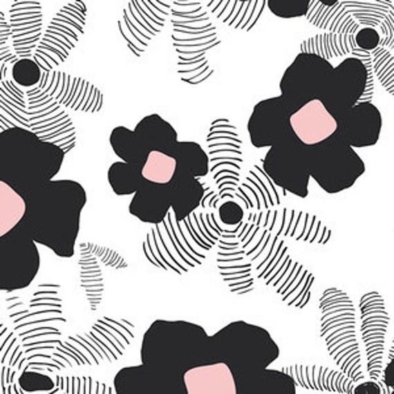 Boppy Cover >> Lagom Asphodel in Pink >> Boppy Newborn Lounger Nursing Pillow > MADE-to-ORDER black white pink boppy, flower floral boppy