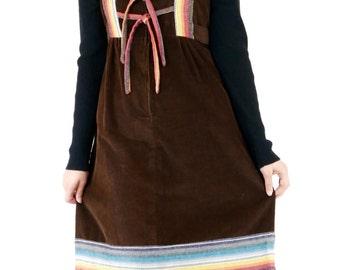 Adorable Vintage 70's Velvet Corduroy Rainbow Trim Winter Pinafore Dress