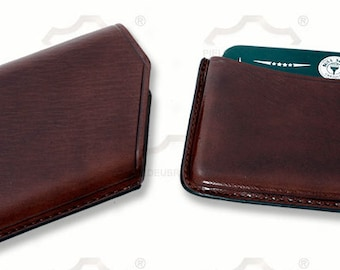 Brown leather business card holder, Tarjetero de piel marrón