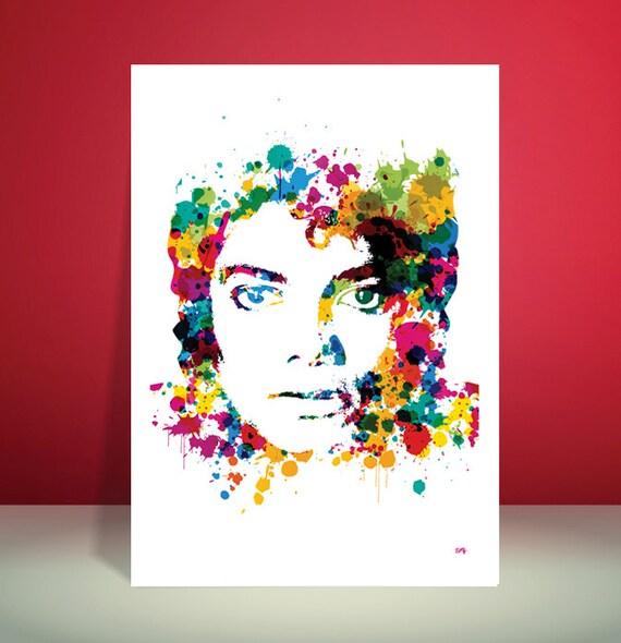 Michael Jackson // King Of Pop // Paint Splatter Unique Art Print