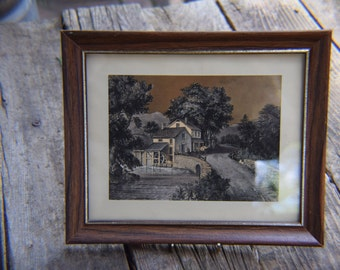Vintage Gold Foil English Etching of Grist Mill