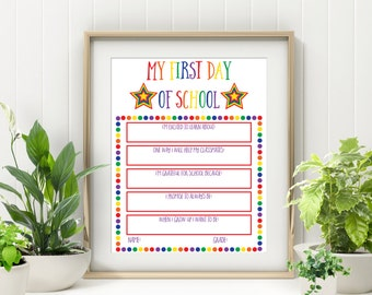 Reusable First Day Of School Sign - Milesone Sign - First Day Of School Board - Printable Back to School Sign -First Day Of School Printable