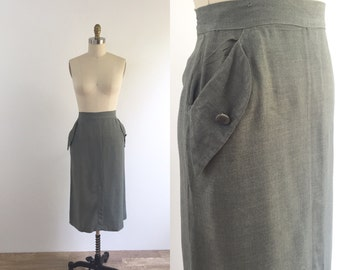1940s Gray Pencil Skirt | medium