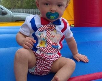 Handmade baby boy birthday outfit (circus theme)