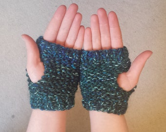 Knitted Fingerless Gloves, Blue, Green, Aqua, Ladies/Mens/Childrens, Hand Warmers